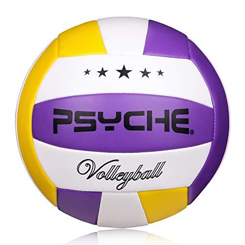 Ballon de Volley,Ballon de Beach-Volley Soft Touch pour Adultes et Enfants,pour Intérieur/Extérieur,Taille Officielle 5 (Size 5, Violet/Jaune/Blanc)