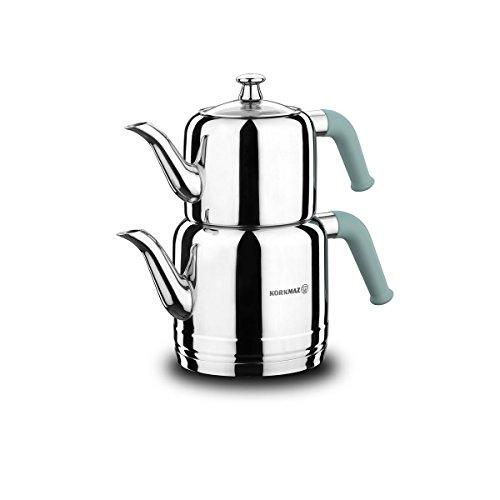 Korkmaz | Riva | Teekannen-Set | Teekessel | Teekocher | Wasserkocher | Samowar | Aus Edelstahl | 3 Liter | Induktionsgeeignet | Türkischer Tee