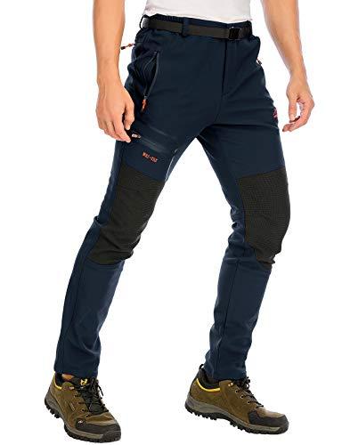 DAFENP Pantaloni Trekking Uomo Softshell Pantaloni Montagna Escursionismo Impermeabili Caldo Invernali All'aperto KZ1662M-DarkBlue1-L