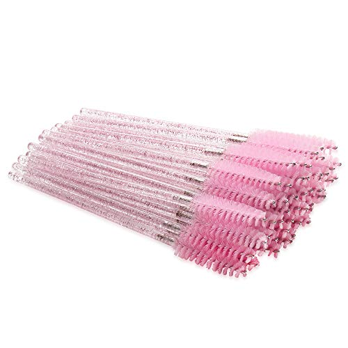 300 Pack Mascara Wands Disposable Bulk Eyelash Extension Tool Lash Brushes Makeup Applicator Kit, Crystal Light Pink Handle - Pink Brush Head