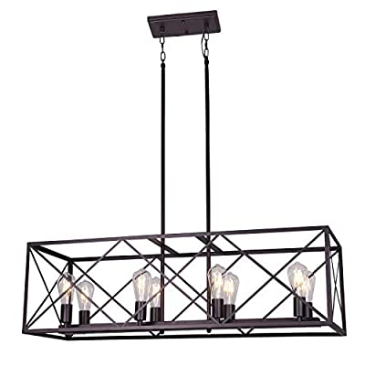 MELUCEE 8 Lights Large Rustic Chandelier Oil Rubbed Bronze Finish, Industrial Kitchen Island Pendant Lighting Farmhouse Light Fixtures Ceiling Hanging for Dining Room Foyer