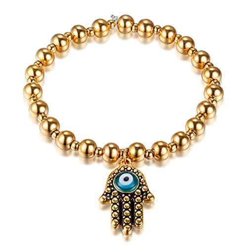 Pulseras de cuentas elásticas de oro de acero inoxidable para mujer, pulsera con encanto de ojo malvado azul de mano de Hamsa, joyería de moda para mujer