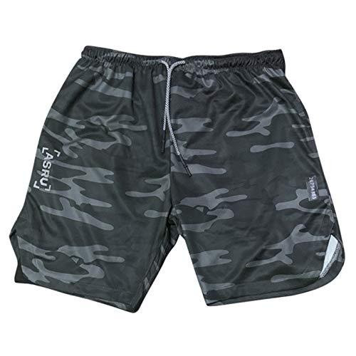 Katenyl Pantalones Cortos Deportivos Finos y cómodos para Hombre, Pantalones Cortos de Playa con Cintura elástica y Malla de Moda para Entrenamiento Relajado L