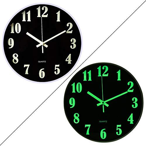 ZUJI Wanduhr Leuchtend - 30 cm Ø - Geräuschlose Uhr fürs Schlafzimmer, Wohnzimmer (B)