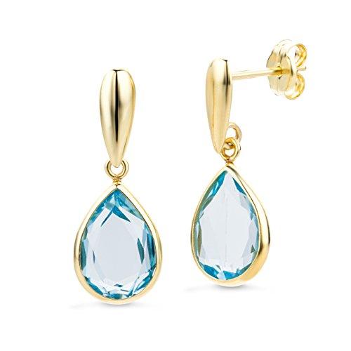 Miore Ohrringe Damen Ohrhänger mit Edelstein/Geburtsstein Topas in Blau aus Gelbgold 14 Karat / 585 Gold, Ohrschmuck