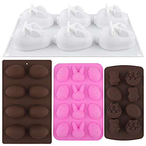 ADXCO 4 Pieces Easter Silicone Mold Egg Bunny Chocolate Mold Candy Cookie Mould with 8 Wooden Hammers for Easter Cake Decorating Home Kitchen DIY Baking