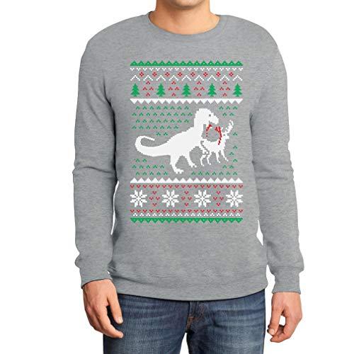 Weihnachten Lustiges Motiv T-Rex Vs Rentier Geschenk Sweatshirt Medium Grau