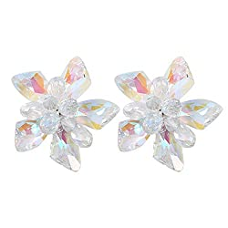 Colorful Glass Rhinestone Applique Crystal Glass Flower Brooch
