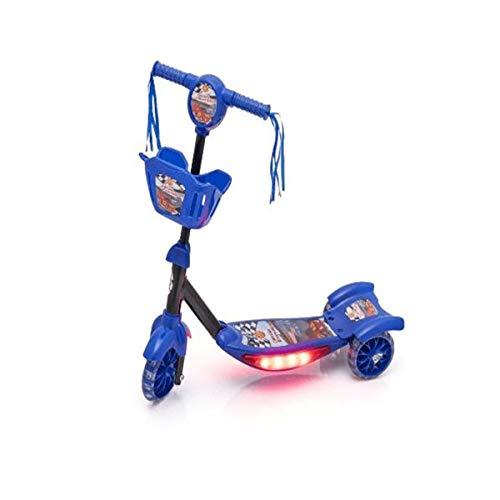 Patinete Corrida Divertida, DM Toys, Azul, Com Luz, Som e Cesta