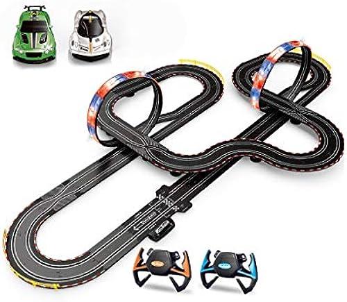 LINGLING-Verfolgen Kinder Electric Track Racing Fernbedienung Auto Größe Schlacht Spur Spielzeugauto (Farbe   Steering Wheel+Hand Crank, Größe   9.5m)
