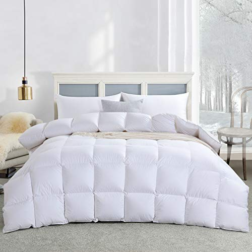 HOMBYS All Season Goose Down Comforter King Size 106x90 Duvet Insert Feather and White Down Comforter 100% Cotton Cover Hypoallergenic Down Proof with Corner Tabs (King, Medium Weight/White)