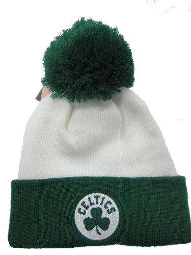 adidas Boston Celtics White/Green Cuffed Pom Knit Cap/Beanie