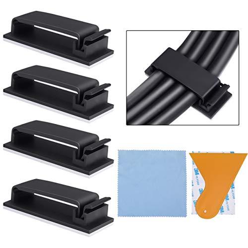 60 Clips Organizador de Cables Autoadhesivo, Gestión de Cable Eléctrico, Amarre de...