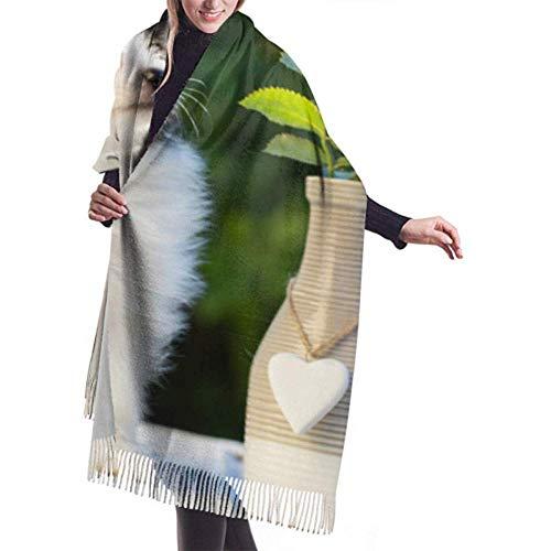 27 'x 77' lichte sjaal mooie hond en tulpen hond in vaas lange kasjmier sjaal vrouwen lange kasjmier sjaal vrouwen grote warme deken