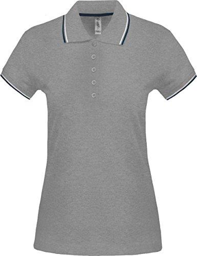 Kariban Polo Manches Courtes Femme - Oxford Grey/Navy/White, S, Femme