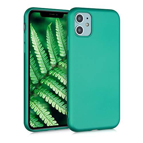 kwmobile Custodia Compatibile con Apple iPhone 11 - Cover Silicone TPU Effetto Metallizzato - Protezione Back Case Morbida Turchese Metallico