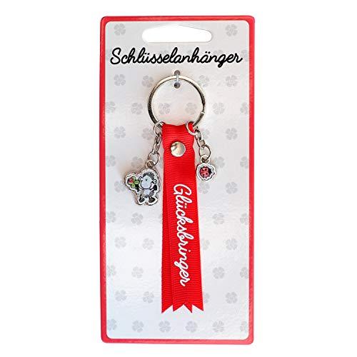 Die Geschenkewelt Sheepworld 45736 Schlüssel-Anhänger Glücksbringer, mit 2 Charms, Rot Schlüsselanhänger, Polyester, Epoxy, Pappe, Draht, Länge circa 12 cm