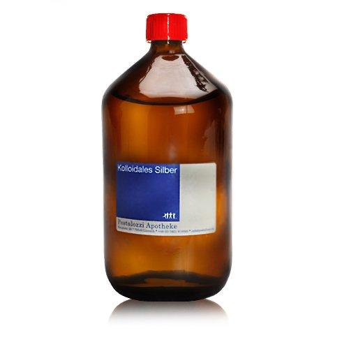 Kolloidales Silber 100ppm (1000 ml) aus Apotheken-Herstellung - 100% natürliches, kolloidales Silberwasser, ohne chemische Zusatzstoffe, Inhalt: 1000 ml