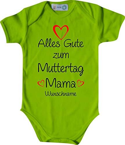 Shirtinstyle Body Todo Buena para Día de la Madre Mamá Solicitud Nombre Name Texto, Manga Corta Body de Bebé, Bebé, Nacimiento, Bautizo, Pelele - Lima, 62-68