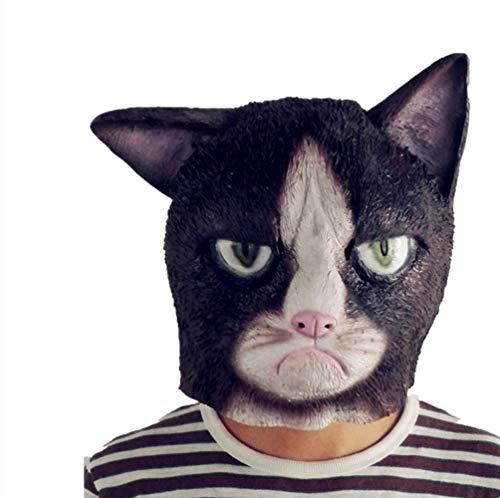 Angry Cat Head Latex Maschera Sober Nero Bianco Gatto Coppia Coppia Halloween Cosplay Costume Prop Silfabile Festival Forniture
