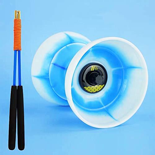 "DSJUGGLING Creatived Triple Bearing Medium 5"" Chinese Yoyo Diabolo Set with Fiberglass Diablo Sticks & Carry Bag (Sky-Blue)"