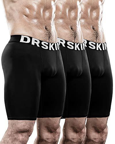 DRSKIN Men's 3 Pack Compression Shorts Sports Running Cool Dry Tights Pants Leggings Active Baselayer Rashguard (Line BB301 3P, L)