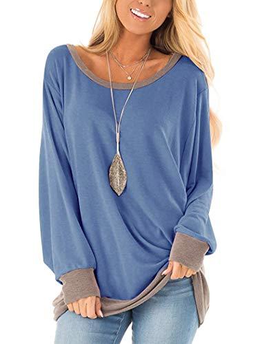 Yidarton Damen Sweatshirt Casual Lose Farbblock Langarmshirt Rundhalsausschnitt Pulli Bluse Top Pullover Oberteile (338-blau, Large)