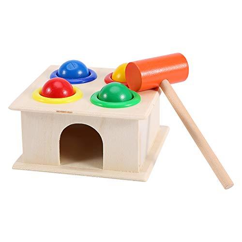 Juguetes para niños, caja de martillo de bolas de madera, juguete novedoso para niños, juego de martillo, juguete educativo para niños de aprendizaje temprano, para mayores de 9 meses, niños y niñas