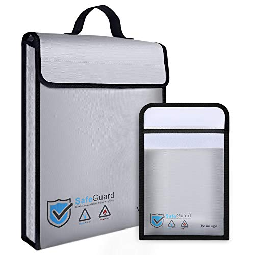 Vemingo Fireproof Bag 2000 Degree Water Resistant Document Holder 15.8 x 12.6 x 3 Inches Non-Itchy Silicone Coated Fireproof Safe Storage for Money, Documents, Jewelry, Passport and Laptop (2Grey, L)