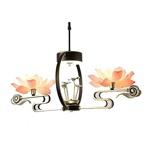 Lotus lámpara colgante lámpara de techo de la cortina colgante Lampshade enciende la lámpara moderna, simple de la personalidad creativa de iluminación Iluminación en la alcoba Iluminación (dos cabeza