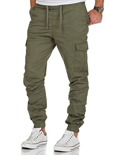 Amaci&Sons Herren Stretch Jogger Cargo Chino Jeans Hose 7006 Olive W34