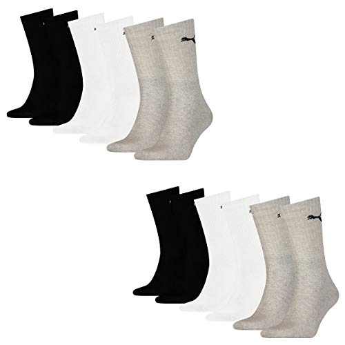 PUMA Lot de 12 paires de chaussettes de sport Cush Crew - Unisexe - Taille 35-38 - Gris/blanc/noir