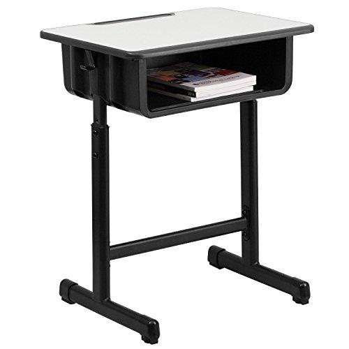 Flash Furniture Grey Open Front Desk, Black, Natural
