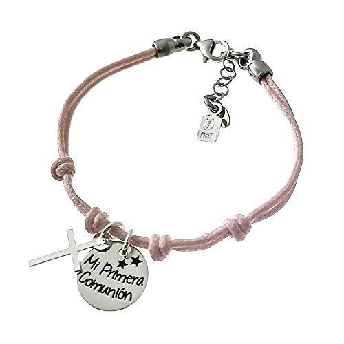 Pulsera plata Ley 925m cordón rosa 14cm. niña disco MI PRIMERA COMUNIÓN charm cruz