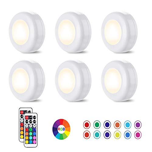Luces de bajo gabinete, luces LED inalámbricas HDJDZ, iluminación de contador LED con 2 mandos a distancia, para cocina, pasillos, armarios, 6 unidades