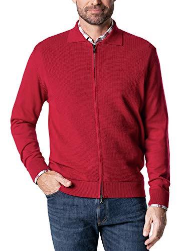 Walbusch Herren Premium Merino Strickjacke einfarbig Rot 54