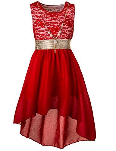 Unbekannt Kinder Sommer Fest Kleid für Mädchen Sommerkleid Festkleid mit Kette in vielen Farben M288rt Rot Gr. 4/98 / 104