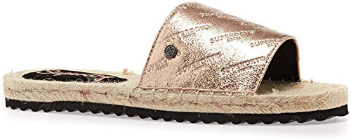 Superdry Sandalen Damen Maya Espadrille Slide Rose Gold Crackle, Schuhgröße:41