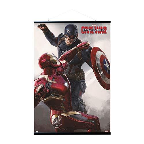 Erik Magnetische Posterleiste mit Poster - Captain America Civil War Cap VS Iron Man - Poster mit Rahmen