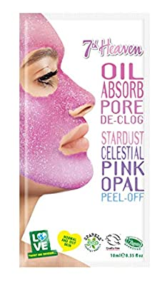 StarDust Celestial Pink Opal Peel-Off Face Mask by 7th Heaven   Oil Absorbing Pore De-clog for Ultra Clean, Healthy and Glowing Skin - Ideal for Normal and Oily Skin from Montagne Jeunesse