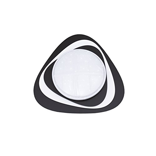 Elobra Driela Starlight-effect LED plafondlamp, kleur instelbaar, hout, antraciet/wit, 55 x 55 x 10 cm
