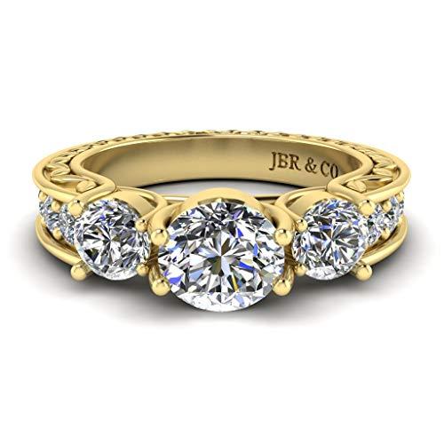 Jbr - Anillo de plata de ley de corte redondo de tres piedras antiguas para su regalo para novia, madre y esposa con caja de regalo