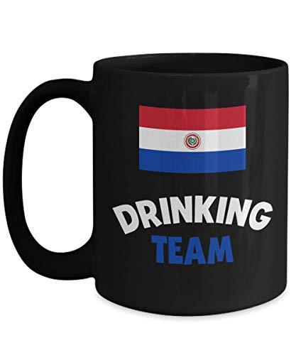 NA Taza Grande del Equipo de Bebida de Paraguay, Soporte de café acrílico, Negro, 11 oz, Bebedor de Licor de Vino y Alcohol, Taza Divertida de los Juegos Olímpicos de Cerveza