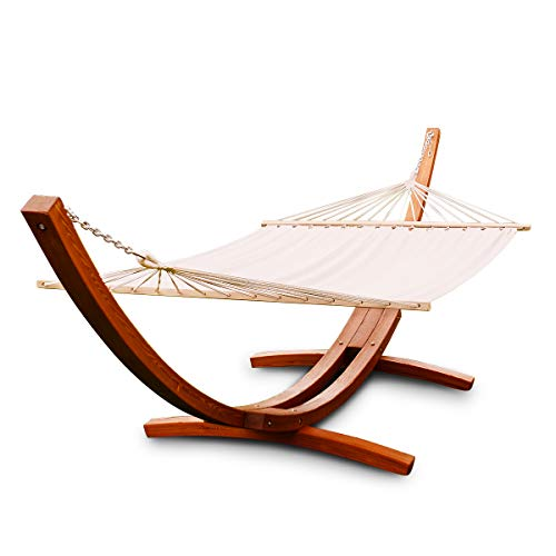 Giantex 13 Ft Hammock Stand Chair with Cozy Cotton Fabric, Wood Rope Swing Hammock for Backyard...