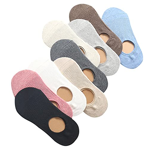COSYOO Ladies Girls Adults Woman Women Liner Socks Simple 9 Pairs Nonslip Hidden Cozy Cotton Casual Soft No Show Socks Invisible Socks