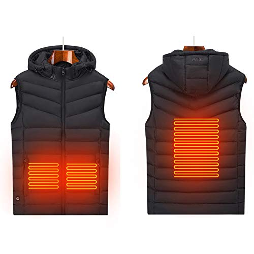 LTLGHY Electric Heated Vest, Waterproof 5V Heated Vest for Men And Women, 3 Heating Pads And 3 Stalls Adjustable Temperature, USB Charging Electric Vest for Skiing Hiking Hunting Camping,Black,M