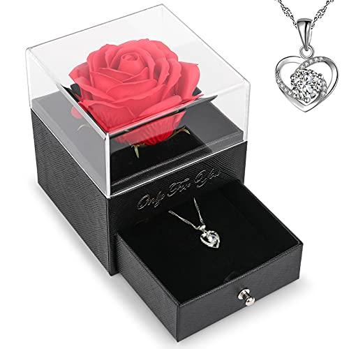 Rose Eternelle sous Cloche,Cadeau Femme,Romantiques Cadeau pour Maman Anniversaire Femme,Coffret Cadeau pour Femme,Mamie,Maman,Saint Valentin