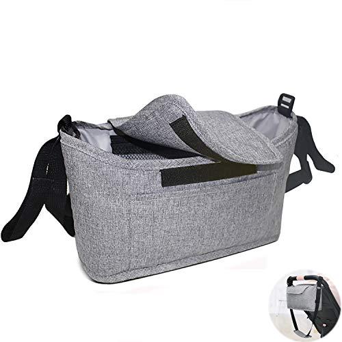 Organizador de cochecito, bolsa universal para cochecito de bebé con correa de hombro ajustable libremente, bolsa de almacenamiento esencial para accesorios de cochecito.