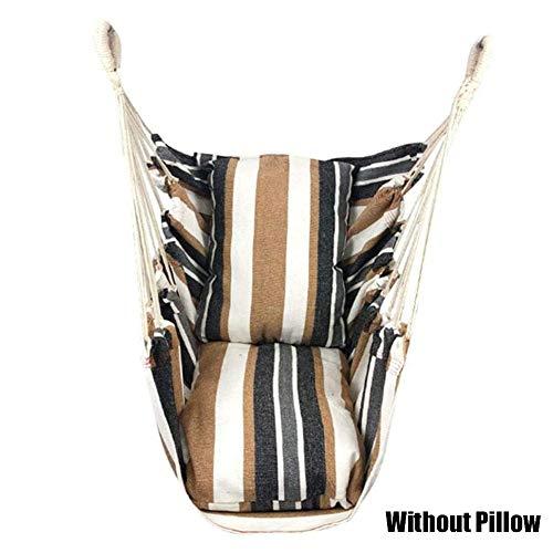 Hängesessel zum Aufhängen mit Seil, 150 kg Tragkraft, für jeden Innen- und Außenbereich, Segeltuch für höchsten Komfort und Haltbarkeit, Kaffee-Streifen, Without Pillow