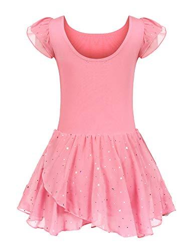 trudge Kinder Ballettkleidung Ballettkleid Mädchen Kurzarm Baumwolle Balletttrikot Ballettanzug Tanzkleid Tanzbody mit Rock Tütü, Rosa B, 160